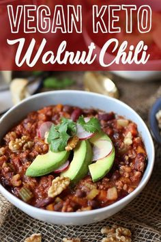 abendessen low carb Vegan Keto Walnut Chili is the best Gluten Free, High Protein, Low Carb Dinner R. Vegan Keto Walnut Chili is the best Gluten Free, High Protein, Low Carb Dinner Recipe. Vegan Keto Recipes, Low Carb Dinner Recipes, Vegetarian Keto, Keto Foods, Keto Dinner, Diet Recipes, Healthy Recipes, Keto Meal, Paleo Vegan