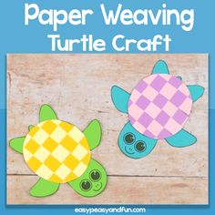 Paper Weaving Turtle Craft for Kids - Easy Peasy and Fun Crab Crafts, Bird Crafts, Snowman Crafts, Animal Crafts For Kids, Winter Crafts For Kids, Summer Crafts, Turtle Outline, Paper Plate Crafts, Paper Craft