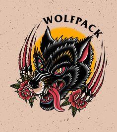 Traditional Tattoo Dragon, Traditional Tattoo Sketches, Traditional Tattoo Design, Traditional Tattoos, Old School Tattoo Designs, Tattoo New School, Dragon Tattoo Flash, Wolf Pack Tattoo, American Style Tattoo