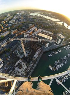 The view from the top of the 250ft crane Mr Kingston scaled in Southampton, on the south coast