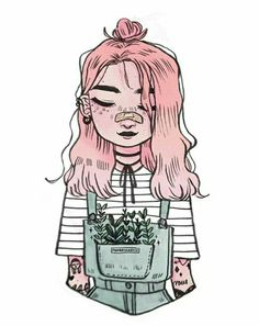 Drawing Ideas my aesthetic : wild plants in the pockets of denim overalls ☘️ happy weekend lovelies! Pretty Art, Cute Art, Character Drawing, Character Design, Art Pastel, 3d Drawings, Drawing People, Art Inspo, Amazing Art
