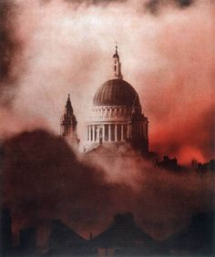 A symbol of survival. St Paul's Cathedral rises above the smoke and flames of one of the worst nights of bombing experienced in Britain.  COLOURED VERSION  On 29th December 1940 when the Thames was a low water mark and after the early bombing run had severed the water mains, the Luftwaffe's aircraft dropped more than 10,000 incendiary bombs on the City. By some miracle the landmark church and its dome remained untouched as thousands of firefighters and troops fought to prevent the ancient…