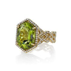 """Chevron"" Ring with peridot and diamonds by Erica Courtney"