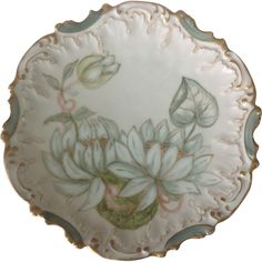 Coiffe Limoges France Hand Painted Water Lily Plate.