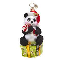 "Christopher Radko Panda Bear Ornament - ""Pandycane"""