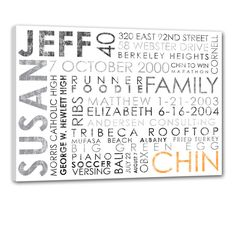 """Typography """"ELITE"""" Series Word Art Canvas art personalized Words and phrases wall art 24X36. $285.00, via Etsy."""