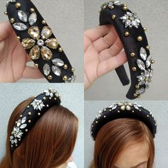 Handmade Headbands, Handmade Bracelets, Diy Hair Accessories Easy, Jeweled Headband, Pink Hair Bows, Diy Origami, Crown Headband, Tiaras And Crowns, Hair Jewelry