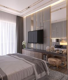 Contemporary Bedroom Interior Design That Very Cozy 13 Crystal Tv In Bedroom, Trendy Bedroom, Home Decor Bedroom, Bedroom Ideas, Master Bedrooms, Bedroom Curtains, Dream Bedroom, Bedroom Interiors, Kids Bedroom