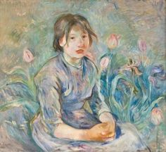Berthe Morisot, Peasant Girl Among Tulips, 1890 Definitely my favorite from the #MonettoMatisse exhibit.