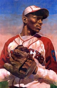 Satchel Paige, Kansas City Monarchs by Jeff Suntala Baseball Painting, Baseball Art, Baseball Players, Negro League Baseball, Sports Art, Sports Decor, Black Artwork, Architecture Tattoo, Afro Art