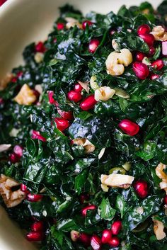 Kale and Pomegranate Salad. I just happened to buy both Kale and Pomegranate at the store today. Maybe this will make an appearance at dinner tomorrow