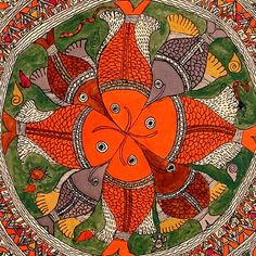 You get to see more of fish motif in Do you agree? Art Beauté, Mural Art, Artist Art, Pichwai Paintings, Indian Paintings, Madhubani Art, Madhubani Painting, Indian Folk Art, Indian Artist