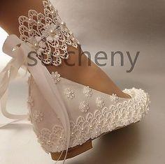 """2"""" Cunha calcanhar De Renda Branco Cetim Seda Pérola Fita tornozelo sapatos casamento tamanho 5-11"""