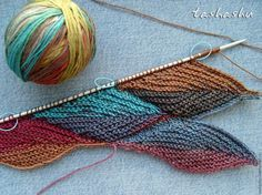leaves; beautiful knit for scarf or shawl.
