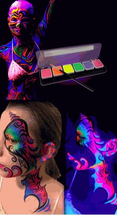 Global Colours Neon Black Light Face & Body Paint Kit – Hobbies paining body for kids and adult Bolo Neon, Glow Run, Blacklight Party, Neon Glow, Glow Party, Fx Makeup, Face Art, Face And Body, Halloween Makeup