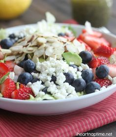 Berry Almond Chopped Salad with Feta topped with Lemon Poppyseed Vinaigrette