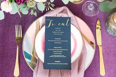 Blush and burgundy wedding menu by Betty Lou Design. Burgundy Wedding, Wedding Menu, Floral Design, Stationery, Blush, Romantic, Bridal, Brown, Photography