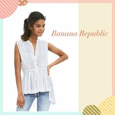 ✨White Top✨ This is a cute effortlessly feminine top with elasticized drawstring waist.. ✨ Banned collar.... Banana Republic Tops Blouses