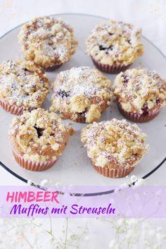 Himbeer Muffins | MiniMenschlein.de ♡ Streusel Muffins, Cupcakes, Diy Food, Brownies, Breakfast, Desserts, Motto, Cute Baking, Raspberry Muffins