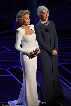 Icons: Jane joined Helen Mirren, on stage to present Best Actor nominees Great Women, Amazing Women, Cher Photos, Helen Mirren, Jane Fonda, Dame Helen, Meryl Streep, Elegant Woman, Formal Dresses