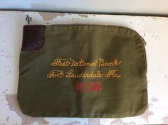 Vtg Bank Deposit Bag with Lock and KEY // 1930s First National Bank Florida Deposit Bag // A. Rifkin // Leather Canvas Talon