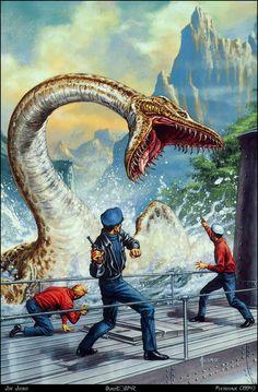 "Joe Jusko cover art for the novel ""The Land That Time Forgot"" by Edgar Rice Burroughs Gravure Illustration, Fantasy Illustration, Fantasy World, Fantasy Art, Dinosaur Art, Dinosaur Fight, Jurassic Park World, Prehistoric Creatures, Science Fiction Art"
