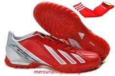 Adidas AdiZero F50 TRX TF Football Boots - Red White Black Cheap Soccer Cleats, Ronaldo Soccer, Cleats Shoes, Adidas Predator, Football Boots, Trx, Nike, How To Wear, Black