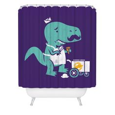T-Rex, Dinosaur, Shower Curtain, Ice Cream, TRex, Cute, Funny, Purple Shower Curtain, Made in USA - Great Decoration Gift for Bathroom by FuzzyInk on Etsy https://www.etsy.com/listing/255015053/t-rex-dinosaur-shower-curtain-ice-cream