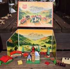 Antique Vtg Original Schowanek Western Germany Wooden Toy Town Buildings W/ Box