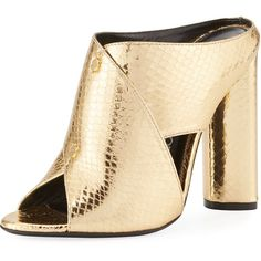 Tom Ford Snakeskin Crisscross 105mm Slide Sandal ($1,290) ❤ liked on Polyvore featuring shoes, sandals, gold, metallic sandals, tom ford sandals, slip-on shoes, metallic shoes and slip on sandals