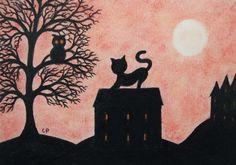 #Cat Card: Cat Owl Card, #Black Cat Card, Cat #Art Card, #Kids Card, Cat House, Art  £2.20