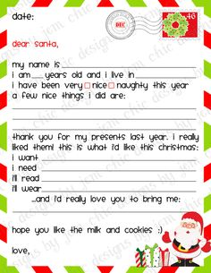 Kids Christmas Wishlist - Printable Dear Santa Letter - INSTANT DOWNLOAD by ChicDesignsByJEM on Etsy https://www.etsy.com/listing/170216356/kids-christmas-wishlist-printable-dear