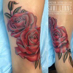 Artist : Samantha Frederick Owner of Depiction Tattoo Gallery in Arlington, TX  #depictiontattoogallery #arlingtontattooshop #ftworthtattooshop #dallastattooshop #dfwtattooshop #tattoos #tattooinspiration #tattooideas #colortattoo #femaletattooer #femaletattooartist #traditionaltattoo #traditionaltattoos #traditionalflowertattoo #flower #flowertattoo #rose #rosetattoo #girlytattoo #femininetattoos #legtattoos #ankletattoos