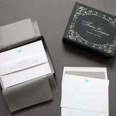 """Letterpress Bird Deluxe Stationery Boxed Set  $50.00    20 letterpress printed cards (4.5 x 6.25"""") paired with 20 tissue lined envelopes.    Packaged in a deluxe, printed box lined with tissue paper.    These fine stationery sets are perfect gifts for friends or loved ones with fine taste!"""