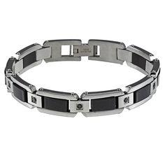 Stainless Steel Men's 1/2ct TDW Black Diamond Bracelet (8.5 inch)