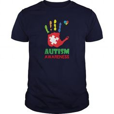 Awesome Tee Autism Awareness Hand Color Womens T Shirts Womens T Shirt Shirts & Tees