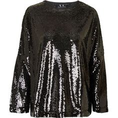 TOPSHOP **Roxy Sequin Jumper by Absence Of Colour ($74) ❤ liked on Polyvore featuring tops, sweaters, black, jumper top, topshop, black sequin sweater, black top and topshop tops