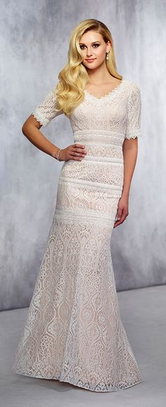 Lace Trumpet Wedding Gown - Modest by Mon Cheri TR21722. Modest Wedding  GownsBridal ... 6f6a625afbf8