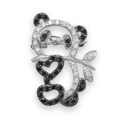 $40.50 Rhodium Plated Brass CZ Panda Fashion Pin