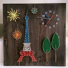 "14 Likes, 1 Comments - Park youngmi (@yellowmiya_) on Instagram: ""스트링아트 응용 벽시계입니다~ 스크롤쏘나 스트링아트는 응용범위가 넓네요~^^ 곧 다른 작품도 올릴께요~~ #스트링아트 #벽시계 #자전거 #에펠탑"""