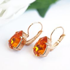 Pear Shaped Tangerine Lever back Earrings Rose by bySarahJohanna