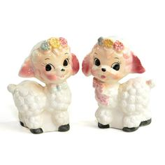 Vintage Baby Lamb Figurine Pair: Shabby sweet nursery decor for baby girl, boy, or twins! Available from OneRustyNail on Etsy. ► http://www.etsy.com/shop/OneRustyNail