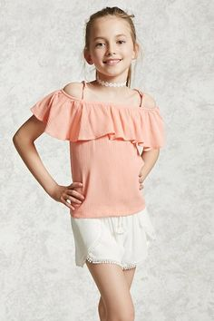 Forever 21 Girls - This crinkled woven top features an open-shoulder design with adjustable cami straps, a flounce layer neckline with built-in short sleeves, and a boxy silhouette.