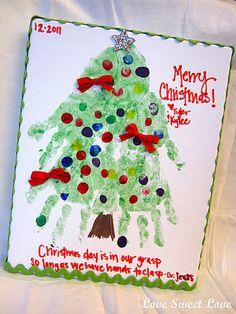 """Hand""made Christmas Tree - such a fun project for kiddos and to help you remember how big your kids were the year you make it. Love!"