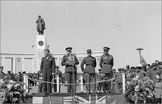 Allied Victory Parade in Berlin: 8 May 1946. L to R: Maj Gen Frank A. Keating (USA), Aleksandr Kotikov (Russia), Brig Gen Charles Lan?on (France) and Maj Gen Eric P. Nares (UK) 1946.05.08