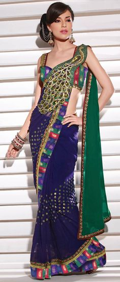 Deep #Blue Faux #Georgette #Saree @ $129.42 | Shop @ http://www.utsavfashion.com/store/sarees-large.aspx?icode=stm88