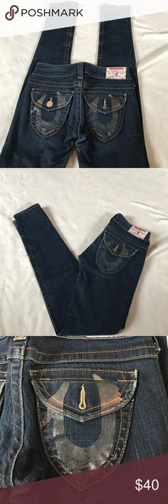 "True Religion Julie Skinny Jeans 32"" inseam. Excellent condition. Dark rinse coloring. Skinny jeans. Julie fit. Has almost painted look to the horseshoe logo on back pockets in a gray/silver coloring that is screen printed. Bundle 2 or more items for a discount True Religion Jeans Skinny"