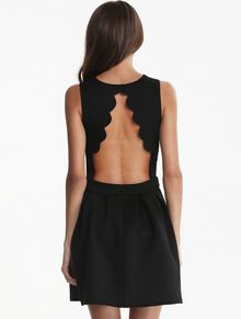 Black Sleeveless Backless Pleated Dress
