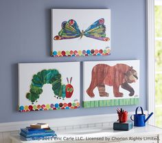 Love the idea of using illustrations from childrens' books as decor in kids' rooms!