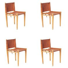 Mid-Century Italian Leather and Wood Dining Chairs by Zanotta, Set of Four | From a unique collection of antique and modern dining room chairs at https://www.1stdibs.com/furniture/seating/dining-room-chairs/